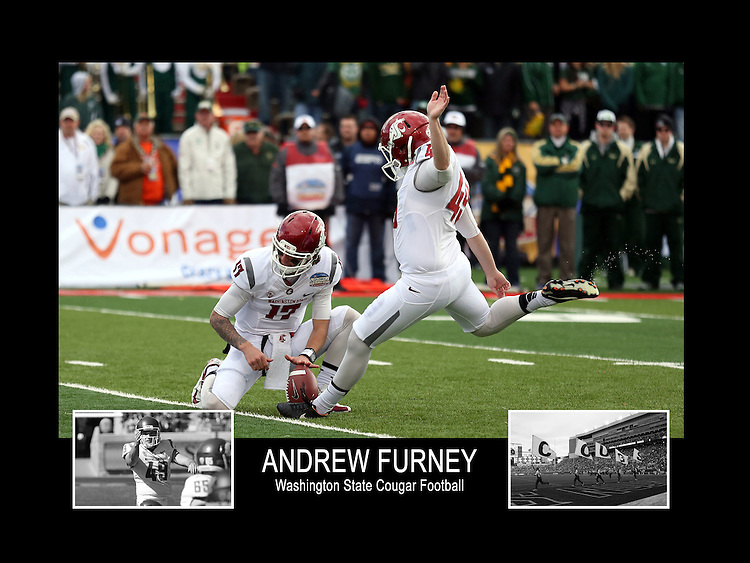 Photo collage of Andrew Furney during his college football career at Washington State University.
