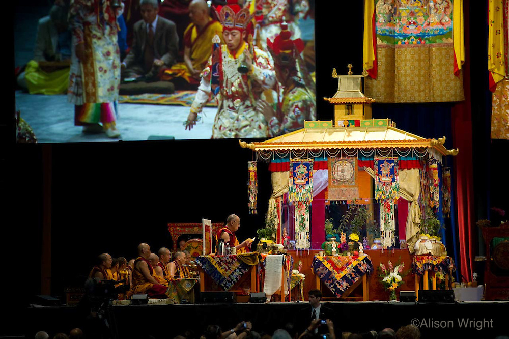The Dalai Lama giving Kalachakra teachings at the Verizon center, 2011, Monks in dance ritual.