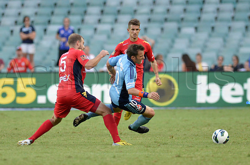 16.02.2013 Sydney, Australia. Sydneys Italian forward Alessandro Del Piero is fouled by Adelaide defender Iain Fyfe during the Hyundai A League game between Sydney FC and Adelaide United from the Allianz Stadium.