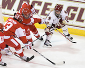 Kaleigh Fratkin (BU - 13), Jenn Wakefield (BU - 9), Kelli Stack (BC - 16) - The visiting Boston University Terriers defeated the Boston College Eagles 1-0 on Sunday, November 21, 2010, at Conte Forum in Chestnut Hill, Massachusetts.