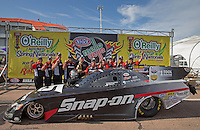 Apr. 28, 2013; Baytown, TX, USA: NHRA funny car driver Cruz Pedregon celebrates with his crew after winning the Spring Nationals at Royal Purple Raceway. Mandatory Credit: Mark J. Rebilas-