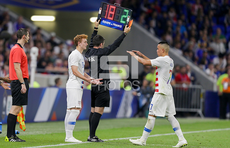 Lyon, France - Saturday June 09, 2018: Josh Sargent, Bobby Wood during an international friendly match between the men's national teams of the United States (USA) and France (FRA) at Groupama Stadium.
