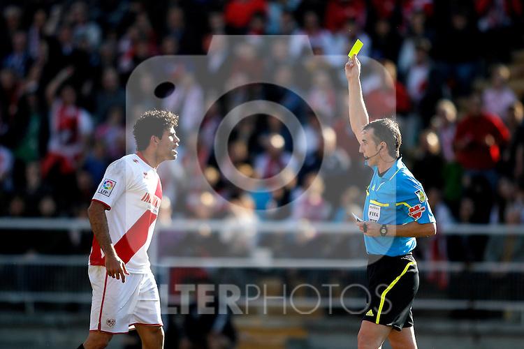 Rayo Vallecano's Diego Costa gets a yellow card during La Liga Match. February 26, 2012. (ALTERPHOTOS/Alvaro Hernandez)