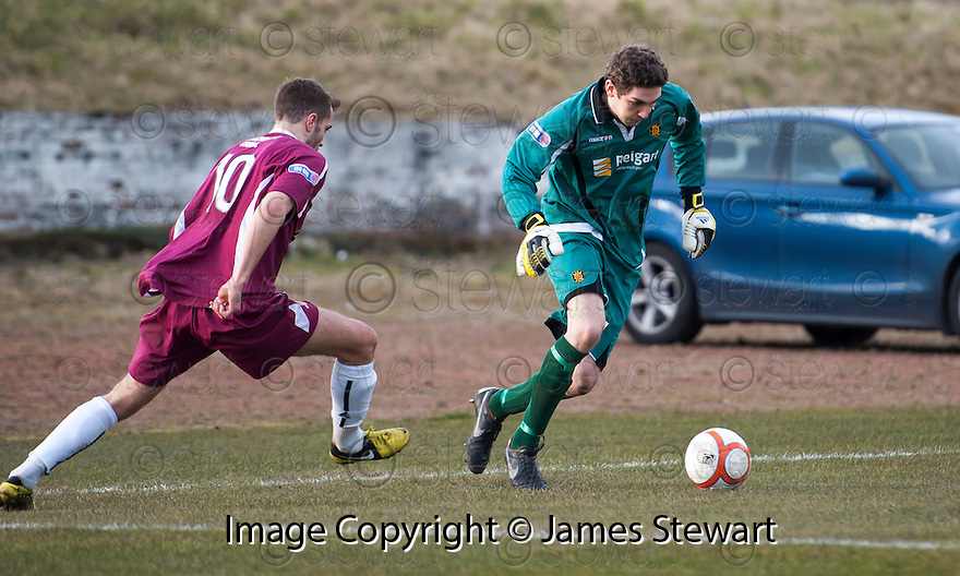 Albion goalkeeper Matthew McGinley shows off his dribbling skills to get away from Alloa's Graeme Holmes.