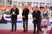 SPEEDSKATING: SOCHI: Adler Arena, 22-03-2013, Essent ISU World Championship Single Distances, Day 2, Pricegiving, Paul Boehlé (Essent Manager External Relations), Jan Dijkema (ISU 2nd Vice President Speed Skating), © Martin de Jong