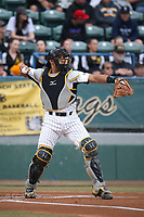 David Banuelos (35) of the Long Beach State Dirtbags in the field during a game against the TCU Horned Toads at Blair Field on March 14, 2017 in Long Beach, California. Long Beach defeated TCU, 7-0. (Larry Goren/Four Seam Images)