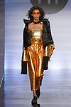 Model walks runway in an outfit by Deniz Kocar, during the Future of Fashion 2017 runway show at the Fashion Institute of Technology on May 8, 2017.