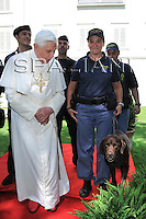 Pope Benedict XVI on before leaving Bressanone where he spent his annual holidays on Aug 11, 2008 ..