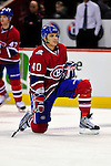 10 April 2010: Montreal Canadiens' center Maxim Lapierre warms up prior to a game against the Toronto Maple Leafs at the Bell Centre in Montreal, Quebec, Canada. The Maple Leafs defeated the Canadiens 4-3 in sudden death overtime. Mandatory Credit: Ed Wolfstein Photo