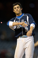 Niko Gallego #2 of the UCLA Bruins throws his gum in disgust after grounding out to end an inning versus the Baylor Bears in the 2009 Houston College Classic at Minute Maid Park February 28, 2009 in Houston, TX.  The Bears defeated the Bruins 5-1. (Photo by Brian Westerholt / Four Seam Images)