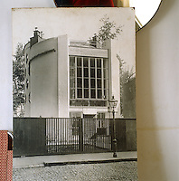 A contemporary photograph showing the facade of the Melnikov residence in its glory days