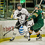 17 October 2015: University of Nebraska Omaha Maverick Defenseman Lukas Buchta, a Freshman from Frystak, Czech Republic, in second period action against the University of Vermont Catamounts at Gutterson Fieldhouse in Burlington, Vermont. The Mavericks defeated the Catamounts 3-1 in the second game of their weekend series. Mandatory Credit: Ed Wolfstein Photo *** RAW (NEF) Image File Available ***