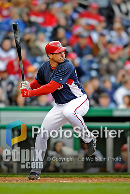 29 March 2008: Washington Nationals' third baseman Ryan Zimmerman at bat during an exhibition game against the Baltimore Orioles at Nationals Park, in Washington, DC. The matchup was the first professional baseball game played in the new Nationals Park, prior to the upcoming official opening day inaugural game. The Nationals defeated the Orioles 3-0...Mandatory Photo Credit: Ed Wolfstein Photo
