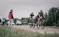 Ramon Sinkeldam (NED/Sunweb) & Rüdiger Selig (DEU/BORA-hansgrohe) up the first HC climb of the day; the Col de la Biche (10.5km @9%)<br /> <br /> 104th Tour de France 2017<br /> Stage 9 - Nantua › Chambéry (181km)