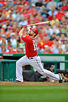 2 September 2012: Washington Nationals' first baseman Chad Tracy at bat against the St. Louis Cardinals at Nationals Park in Washington, DC. The Nationals edged out the visiting Cardinals 4-3, capping their 4-game series with three wins. Mandatory Credit: Ed Wolfstein Photo