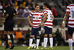 11 September 2012: Jose Francisco Torres (USA) (16) and Herculez Gomez (USA) (9) stand over the ball before taking a free kick. The United States Men's National Team defeated the Jamaica Men's National Team 1-0 at Columbus Crew Stadium in Columbus, Ohio in a CONCACAF Third Round World Cup Qualifying match for the FIFA 2014 Brazil World Cup.