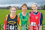 The first three women in the Senior Women's race at the Munster Cross Country championships in Beaufort on Sunday l-r: Marie McCarthy Farranfore/Maine Valey 3rd, Niamh O'Sullivan Riocht 1st and Maria Carey Ennis Track AC..........