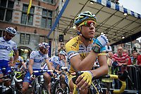 cyclocross star Tom Meeusen (BEL) at the start of this road race<br /> <br /> Halle - Ingooigem 2013<br /> 197km