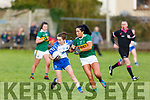 Kerry's Aislinn Desmond putting Cora Murray of Waterford under pressure in the LGFA National football league in Strand Road on Saturday.