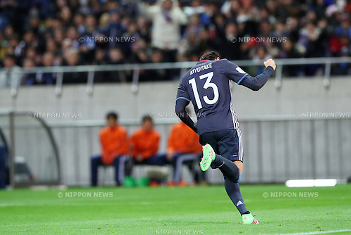 Hiroshi Kiyotake (JPN) celebrates his goal for Japan on<br /> MARCH 24, 2016 - Football / Soccer : FIFA World Cup Russia 2018 Asian Qualifier Second Round Group E match between Japan 5-0 Afghanistan at Saitama Stadium 2002 in Saitama, Japan. (Photo by Yohei Osada/AFLO SPORT)
