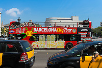 Barcelona city tour bus for tourists, Spain