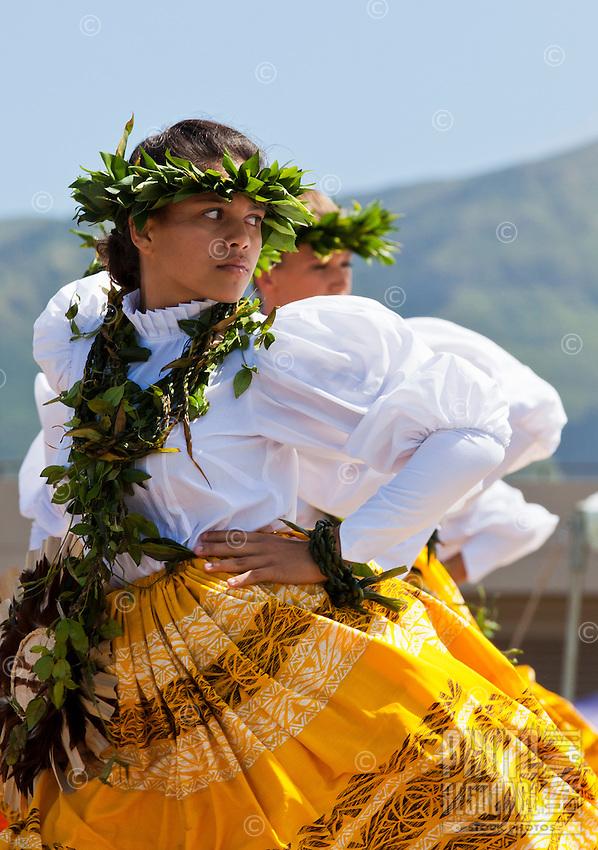 The women of Halau Na Hula o Kaohikukapulani at the 2011 Kauai Polynesian Festival