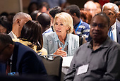 United States Secretary of Education Betsy DeVos speaks to audience members as US President Donald J. Trump delivers remarks at the 2019 National Historically Black Colleges and Universities Week Conference at the Renaissance Hotel in Washington, DC on Tuesday, September 10, 2019. <br /> Credit: Kevin Dietsch / Pool via CNP