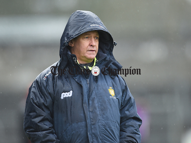 Clare manager Colm Collins on the sideline during their league game against Westmeath in Cusack Park. Photograph by John Kelly.