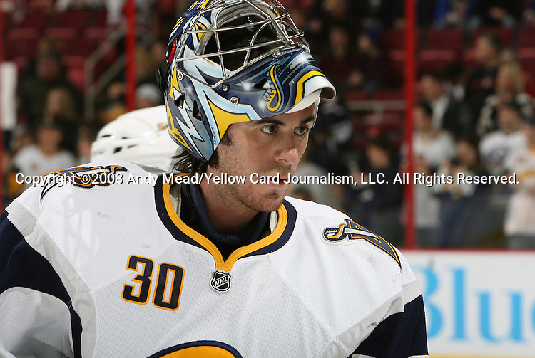 08 March 2008: Buffalo's Ryan Miller. The Carolina Hurricanes defeated the Buffalo Sabres 4-3 in overtime at the RBC Center in Raleigh, NC in a 2007-08 National Hockey League regular season game.