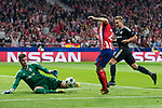 Atletico de Madrid Kevin Gameiro and Qarabag Ibrahim Sehic and Jakub Rzezniczak during UEFA Champions League match between FK Qarabag and Atletico de Madrid at Wanda Metropolitano in Madrid, Spain. October 31, 2017. (ALTERPHOTOS/Borja B.Hojas)