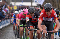 Greg Van Avermaet (BEL/BMC) following Tiesj Benoot (BEL/Lotto-Soudal) up the Oude Kwaremont<br /> <br /> 102nd Ronde van Vlaanderen 2018 (1.UWT)<br /> Antwerpen - Oudenaarde (BEL): 265km