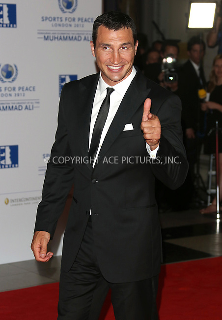 WWW.ACEPIXS.COM . . . . .  ..... . . . . US SALES ONLY . . . . .....July 25 2012, London....Wladimir Klitschko at the Sports for Peace Fundraising Gala on July 25 2012 in London ....Please byline: FAMOUS-ACE PICTURES... . . . .  ....Ace Pictures, Inc:  ..Tel: (212) 243-8787..e-mail: info@acepixs.com..web: http://www.acepixs.com