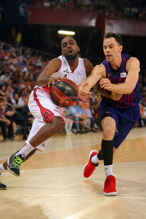 League ACB-ENDESA 201/2019.Game 38.<br /> PlayOff Semifinals.1st match.<br /> FC Barcelona Lassa vs Tecnyconta Zaragoza: 101-59.<br /> J. Berhanemeskel vs Kyle Kuric.