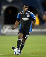 Brandon McDonald of Earthquakes in action during the game against the Red Bulls at Buck Shaw Stadium in Santa Clara, California.  San Jose Earthquakes defeated New York Red Bulls, 4-0.