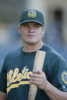 Eric Byrnes of the Oakland Athletics before a 2002 MLB season game against the Los Angeles Angels at Angel Stadium, in Anaheim, California. (Larry Goren/Four Seam Images)