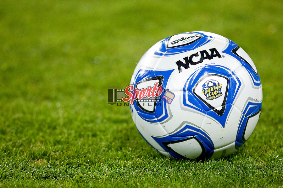 An official NCAA soccer ball sits on the field prior to the game between the Wake Forest Demon Deacons and the Duke Blue Devils in the semifinals of the 2011 NCAA Women's College Cup at Kennesaw State Soccer Stadium on December 2, 2011 in Kennesaw, Georgia.  The Blue Devils defeated the Demon Deacons 4-1 to advance to the Women's College Cup Championship.    (Brian Westerholt / Sports On Film)
