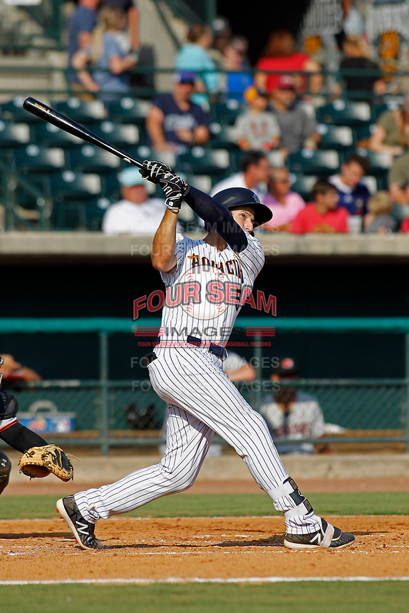 "Charleston Riverdogs left fielder Mitchell Hansen (5) at bat during a game against the Hickory Crawdads at the Joseph P. Riley Ballpark in Charleston, South Carolina. For Sunday games, the Riverdogs wear their ""Holy City"" uniforms in honor of the city's nickname. Hickory defeated Charleston 8-7. (Robert Gurganus/Four Seam Images)"