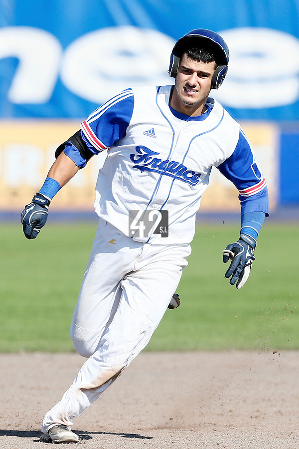 09 September 2012: France Maxime Lefevre runs the bases during France 9-8 win in over Belgium, at the 2012 European Championship, in Utrecht, Netherlands.