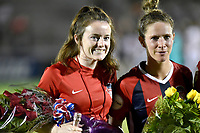 BOYDS, MD - JULY 20: Washington Spirit midfielder Rose Lavelle (10) and defender Elise Kellond-Knight (28) get flowers for participating in the World Cup after the National Women's Soccer League (NWSL) game between the Houston Dash and Washington Spirit July 20, 2019 at Maureen Hendricks Field at Maryland SoccerPlex in Boyds, MD. (Photo by Randy Litzinger/Icon Sportswire)