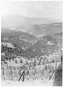View of mountain scenery on Marshall Pass including the D&amp;RG's snowfences.  The Shawano water tank can be seen in the distance, far below.<br /> D&amp;RG  Marshall Pass, CO