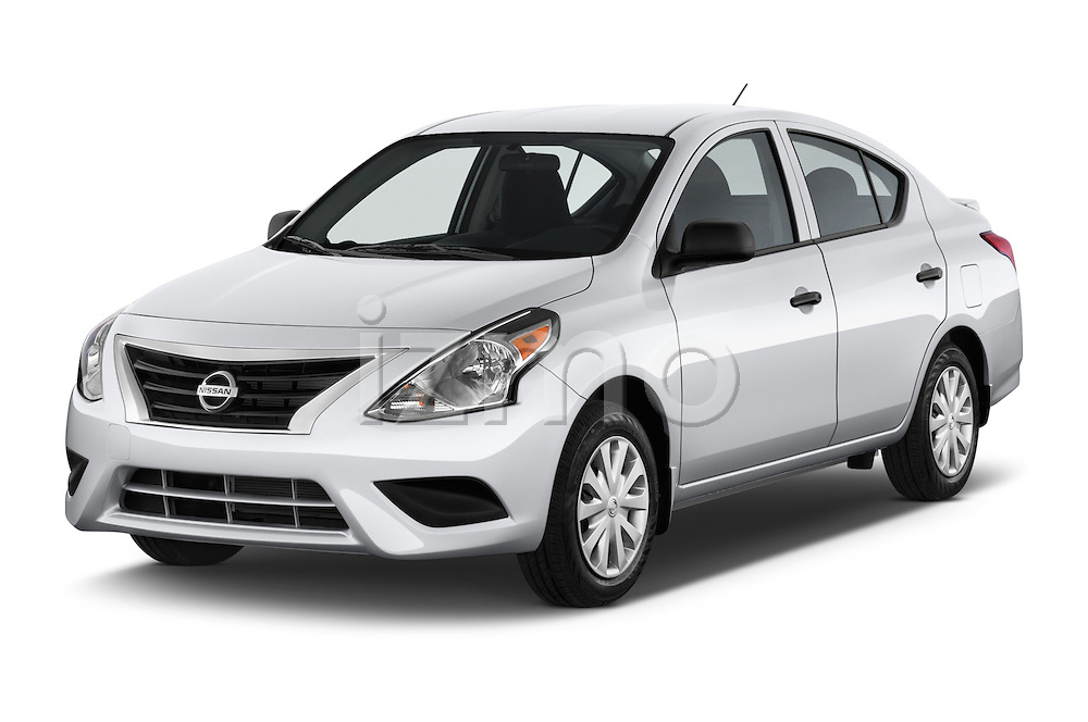 2015 Nissan Versa 1.6 SV CVT 4 Door Sedan Angular Front stock photos of front three quarter view