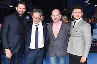 "Hugh Jackman, Dexter Fletcher, Eddie the Eagle Edwards and Taron Egerton<br /> at the ""Eddie the Eagle"" European premiere, Odeon Leicester Square London<br /> <br /> <br /> ©Ash Knotek  D3099 17/03/2016"