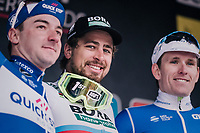 World Champion Peter Sagan (SVK/Bora-Hansgrohe) wins the race for a 3rd time in his career.<br /> Elia Viviani (ITA/QuickStep Floors) finishes 2nd &amp; Arnaud D&eacute;mare (FRA/Groupama-FDJ) 3rd<br /> <br /> 81st Gent-Wevelgem in Flanders Fields (1.UWT)<br /> Deinze &gt; Wevelgem (251km)