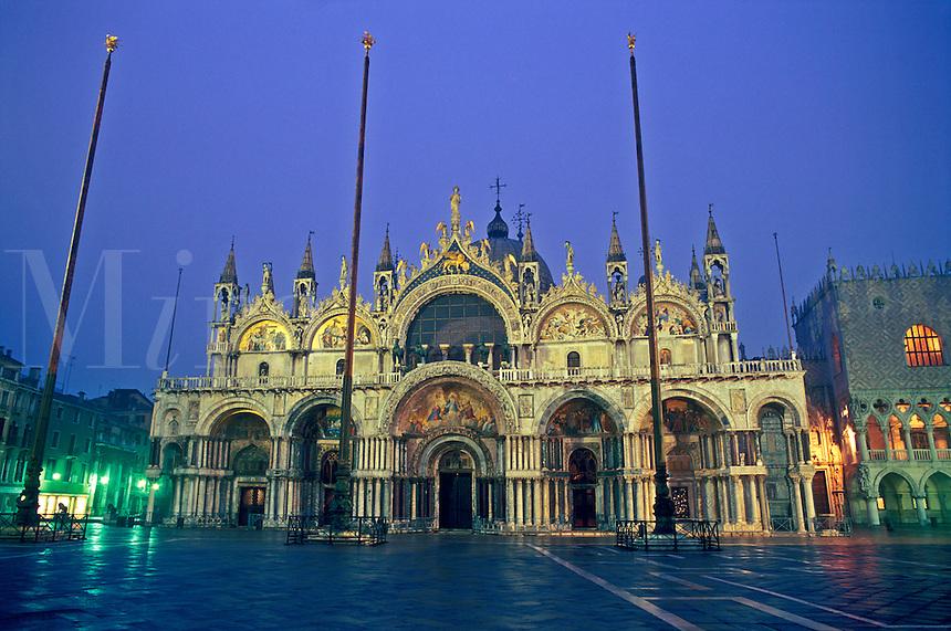 Italy, Venice, facade of Basilica San Marco illuminated at dawn, Piazza San Marco