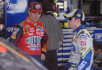 Apr 27, 2007; Talladega, AL, USA; Nascar Nextel Cup Series driver Jeff Gordon (24) talks with teammate Jimmie Johnson (48) during practice for the Aarons 499 at Talladega Superspeedway. Mandatory Credit: Mark J. Rebilas