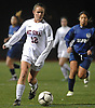 Caiya Schuster #12 of Mt. Sinai moves the ball downfield during Game 2 of two Long Island varsity girls soccer senior all-star games at Farmingdale State College on Friday, Nov. 24, 2017.