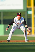 Kannapolis Intimidators first baseman Danny Hayes (32) on defense against the Hickory Crawdads at CMC-Northeast Stadium on May 18, 2014 in Kannapolis, North Carolina.  The Intimidators defeated the Crawdads 6-5 in 10 innings.  (Brian Westerholt/Four Seam Images)