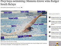 Monona Grove's Ben McDade swims the first leg of the 300-yard backstroke relay during the Badger South Conference boys relays swimming meet on Tuesday at Stoughton High School. Monona Grove wins the event with a total time of 2:51.84 | Wisconsin State Journal front page Sports 12/7/16 and on-line at http://host.madison.com/wsj/sports/high-school/swimming/prep-boys-swimming-monona-grove-wins-badger-south-relays/article_8b777a80-9026-5c5c-91f5-6e86fa05e10a.html