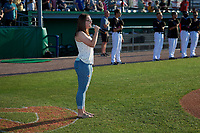 Batavia Muckdogs national anthem singer before a NY-Penn League game against the West Virginia Black Bears on June 26, 2019 at Dwyer Stadium in Batavia, New York.  Batavia defeated West Virginia 4-2.  (Mike Janes/Four Seam Images)
