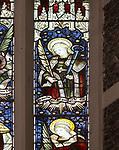 Mary Anne Garrett Memorial stained glass window  female martyrs 1897, Church of Saint Margaret, Leiston, Suffolk, England, UK Saint Agatha by C.E. Kempe ( 1837-1907)